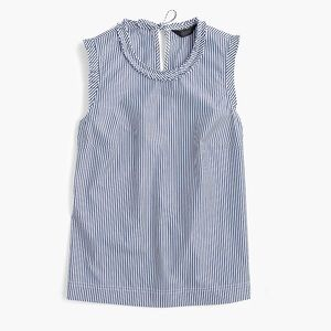 J. Crew | Ruffle Trim Top in Striped Cotton Poplin